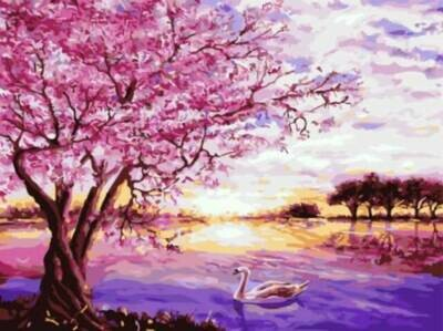 Картина по номерам (30х40см) Цветной EX5872 Сакура и лебедь