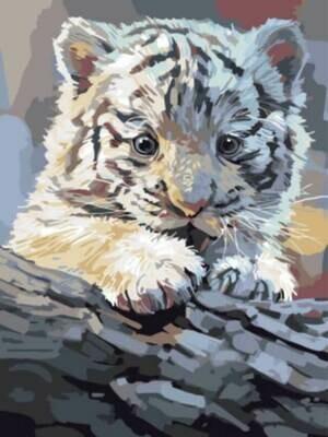Картина по номерам (30х40см) Цветной EX5762 Бенгальский тигренок на бревне
