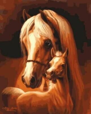 Картина по номерам (30х40см) Цветной EX5832 Лошадь и жеребёнок