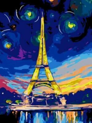 Картина по номерам (30х40см) Цветной EX5217 Ночь в Париже