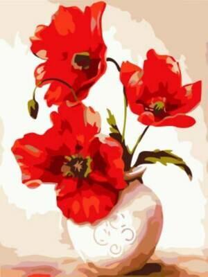 Картина по номерам (30х40см) Цветной EX5877 Большие маки в вазе