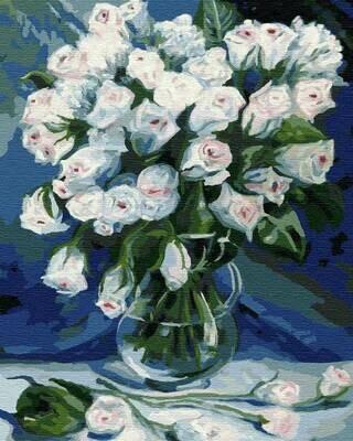 Картина по номерам (30х40см) Цветной EX5948 Букет белых роз