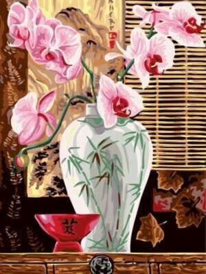Картина по номерам (30х40см) Цветной EX5260 Розовые орхидеи в вазе