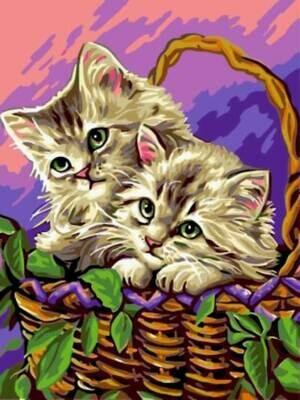 Картина по номерам (30х40см) Цветной EX5283 Котята в корзинке