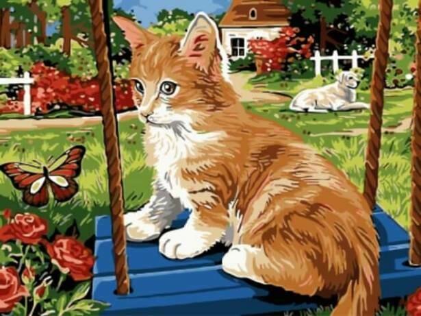 Картина по номерам (30х40см) Цветной EX5278 Рыжий котик на качели