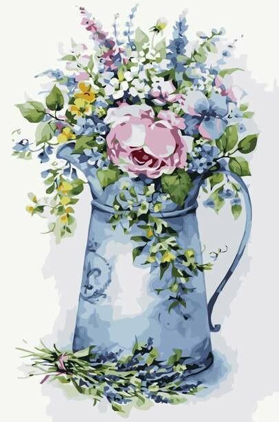 Картина по номерам (40х50см) Цветной MG2104 Романтичный букетик в лейке