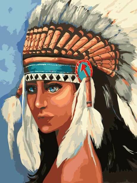 Картина по номерам (40х50см) Цветной MG2113 Индейская девушка
