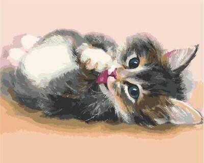Картина по номерам (40х50см) Цветной MG2076 Милый котенок