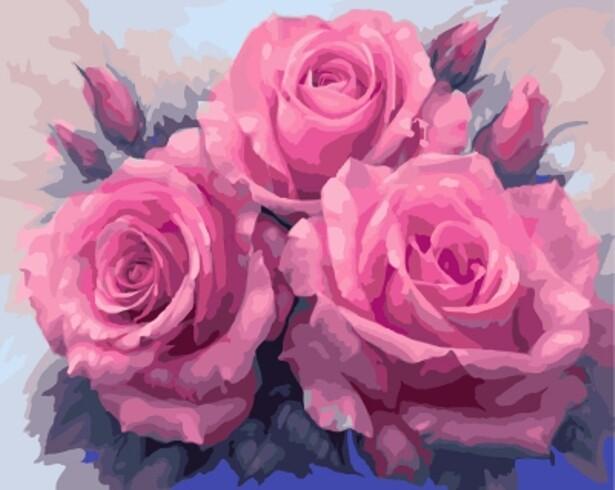 Картина по номерам (40х50см) Цветной GX7903 Три пышные розы