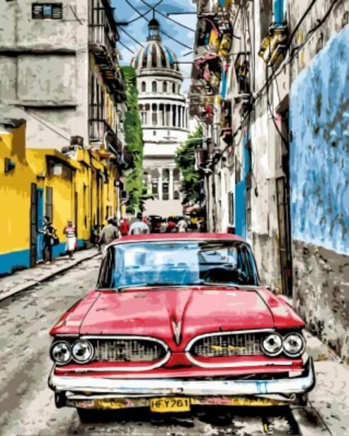 Картины по номерам(40х50см) Цветной GX8934 Винтажное авто в старой Гаване