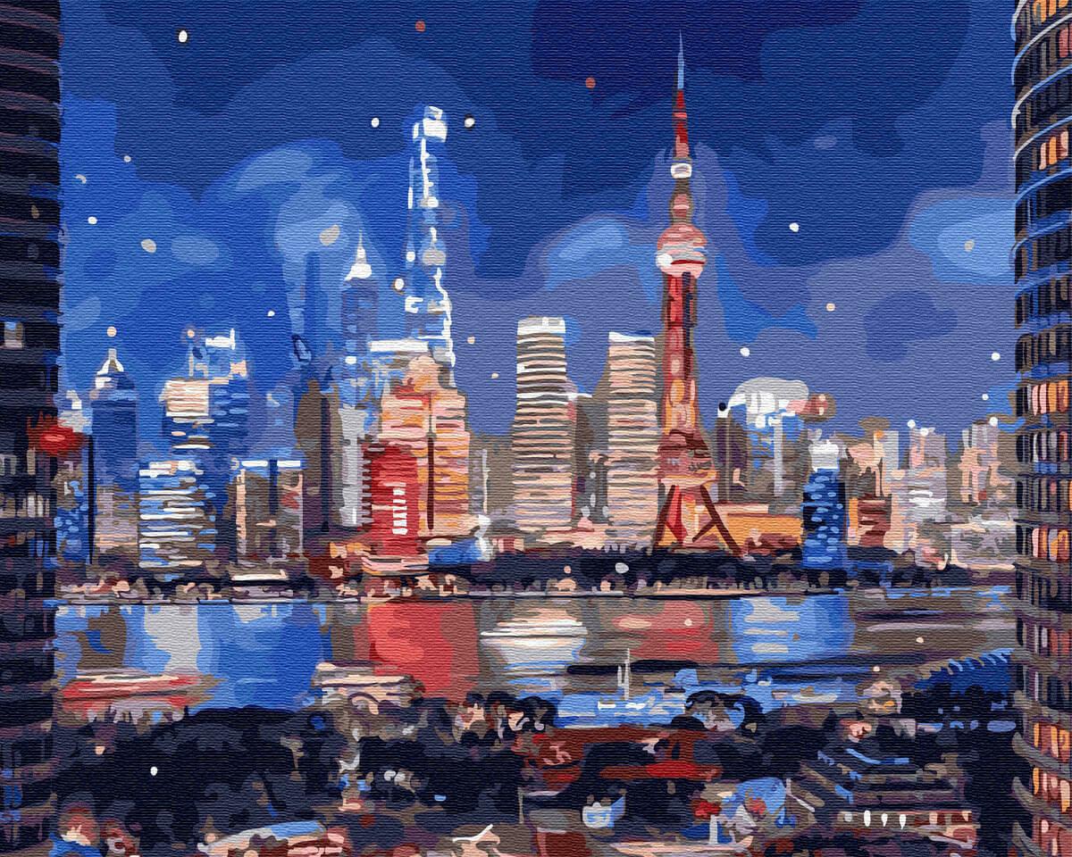 Картины по номерам(40х50см) Цветной GX31841 Неоновый город