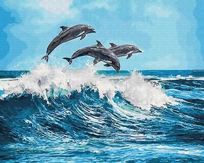 Картина по номерам (40х50см) Цветной GX26749 Дельфины над волной