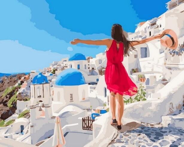 Картина по номерам (40х50см) Цветной GX31624 Курортный Санторини