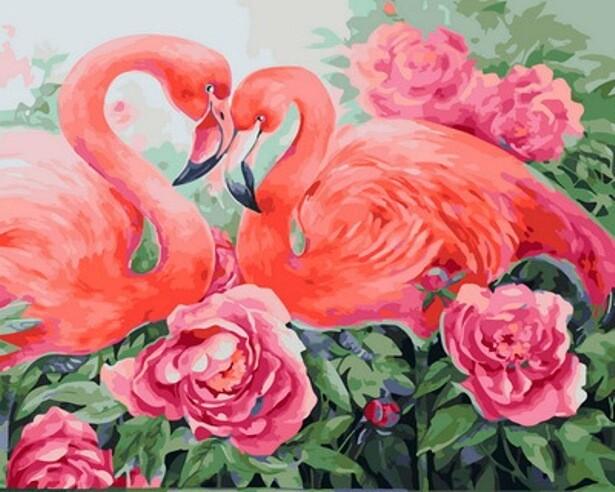 Картина по номерам (40х50см) Цветной GX31635 Фламинго в цветах