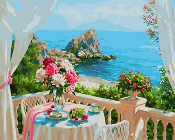 Картина по номерам (40х50см) Цветной GX29309 Балкончик с видом на море