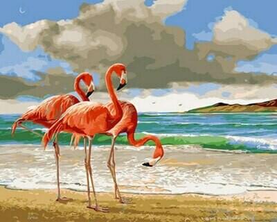 Картина по номерам (40х50см) Цветной GX29378 Розовые фламинго