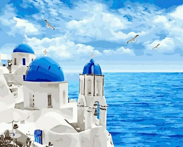 Картина по номерам (40х50см) Цветной GX29448 Белоснежный Санторини