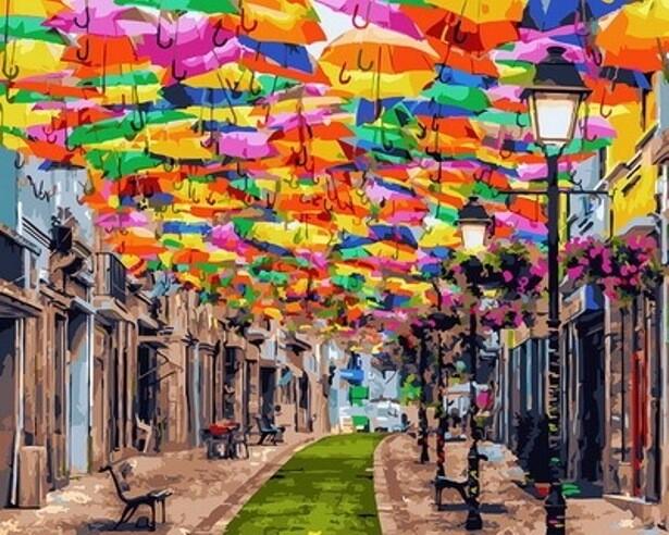 Картина по номерам (40х50см) Цветной GX30102 Улица зонтиков