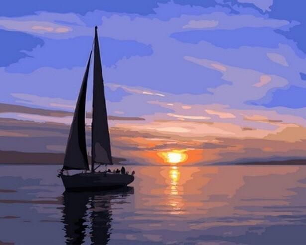 Картина по номерам (40х50см) Цветной GX31088 Парусник на закате