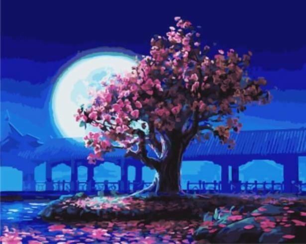 Картина по номерам (40х50см) Цветной GX5376 Розовое дерево на фоне луны