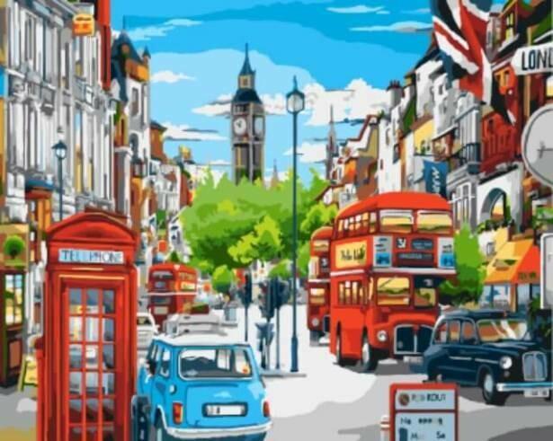Картина по номерам (40х50см) Цветной GX8969 Лондонская улица в ярких красках