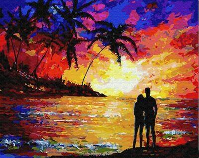 Картина по номерам (40х50см) Цветной GX23465 Влюблённые на закате