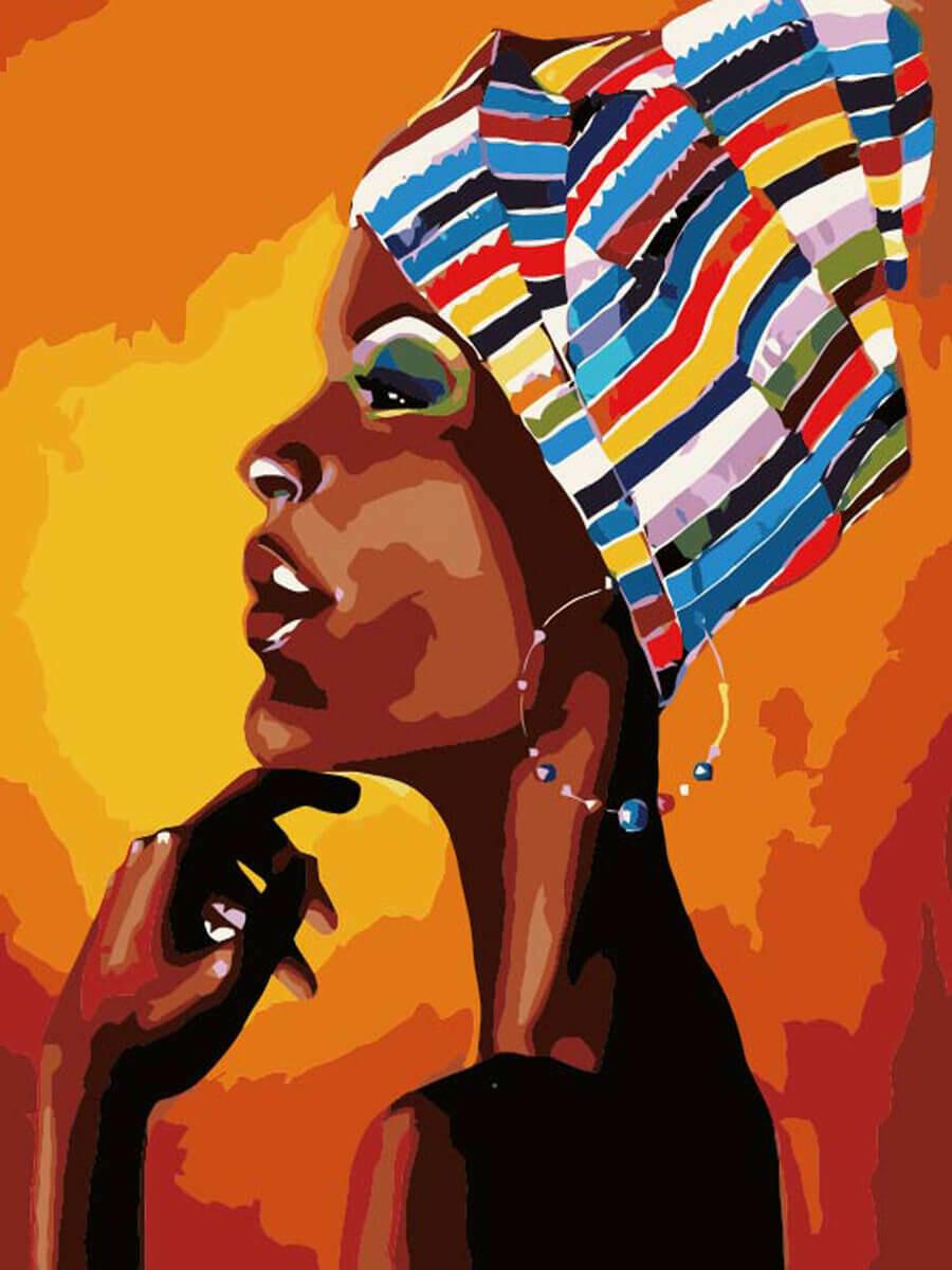 Картина по номерам (40х50см) Цветной MG2112 Портрет африканки