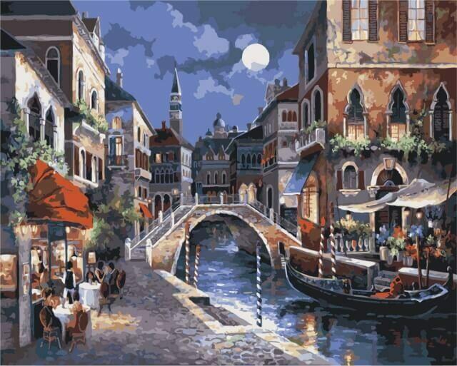 Картина по номерам (40х50см) Цветной MG1129 Улицы Венеции