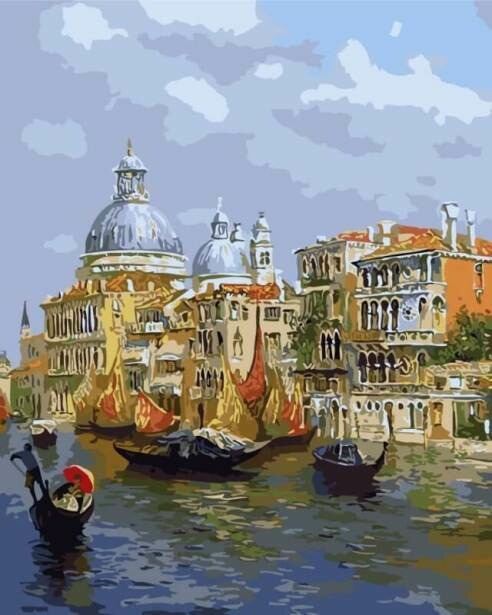 Картина по номерам (40х50см) Цветной MG6469 Лазурь Венеции