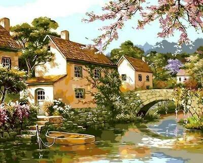 Картина по номерам (40х50см) Цветной MG6010 Двухэтажные домики у реки
