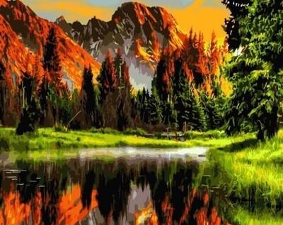 Картина по номерам (40х50см) Цветной GX3348 Пылающий закат в горах
