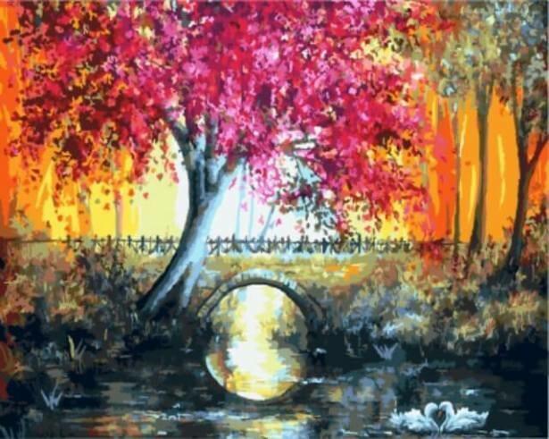 Картина по номерам (40х50см) Цветной GX9567 Лиловое дерево у моста