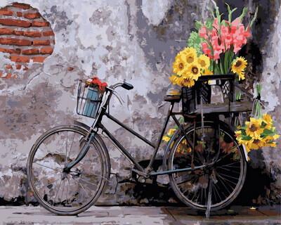 Картина по номерам (40х50см) Цветной GX30798 Ретро велосипед