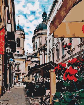 Картина по номерам (40х50см) Цветной GX29486 Улица с кафе