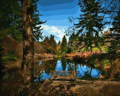 Картина по номерам (40х50см) Цветной GX30938 Лавочка у озера