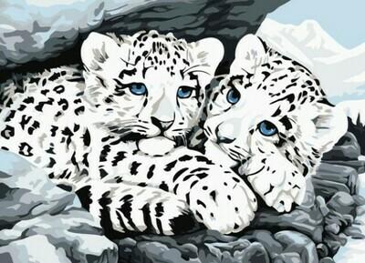 Набор алмазной вышивки (30х40см) Цветной LE051 Ягуарята