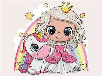 Набор алмазной вышивки (30х40см) Цветной LE105 Принцесса и единорожек