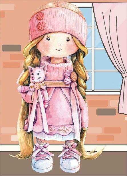 Набор алмазной вышивки (30х40см) Цветной LE099 Куколка в розовом