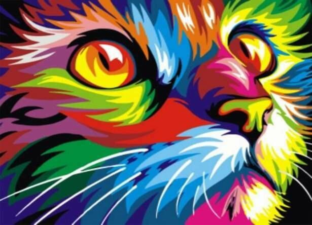 Набор алмазной вышивки (30х40см) Цветной LE068 Радужный кот