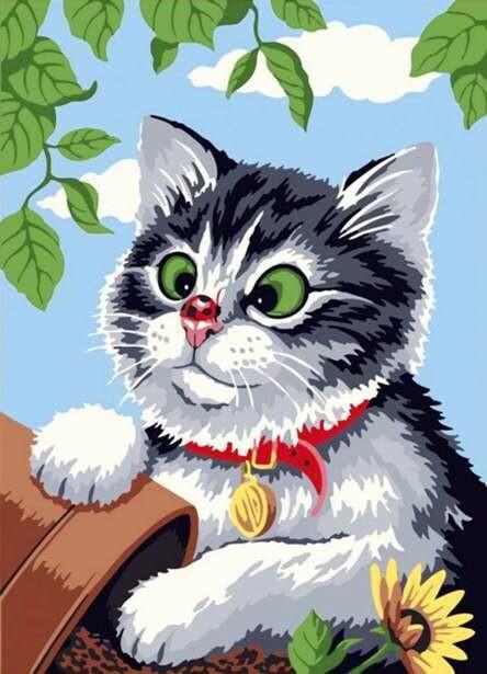 Набор алмазной вышивки (30х40см) Цветной LE072 Любопытный котенок