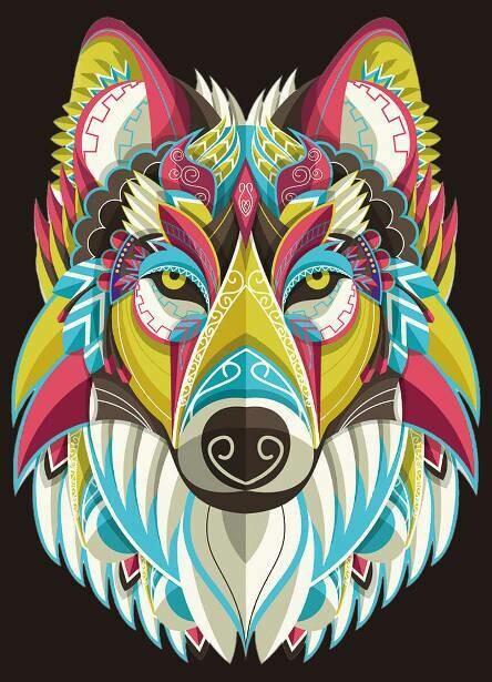 Набор алмазной вышивки (30х40см) Цветной LE103 Радужный волк