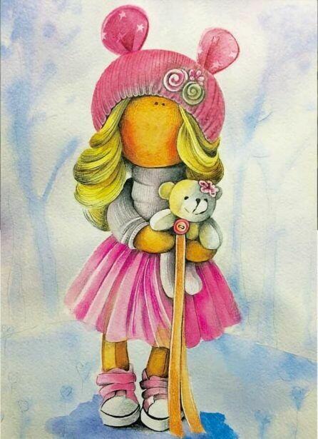 Набор алмазной вышивки (30х40см) Цветной LE045 Кукла Лера