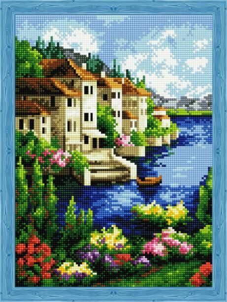 Набор алмазной вышивки (30х40см) Цветной QS200072 Прибрежный город