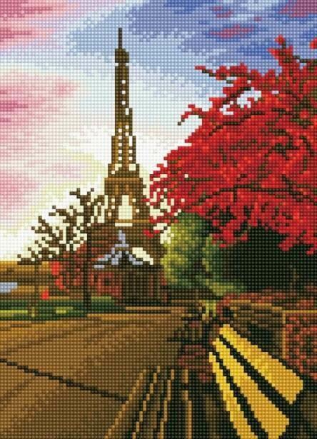 Набор алмазной вышивки (30х40см) Цветной LE062 Прогулка по Парижу