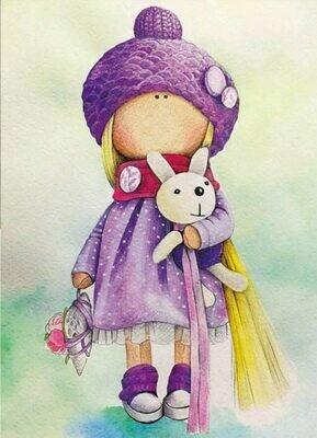 Набор алмазной вышивки (30х40см) Цветной LE047 Кукла Маша