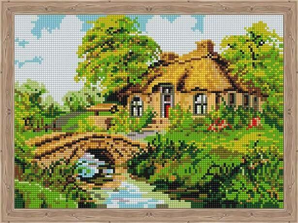 Набор алмазной вышивки (30х40см) Цветной QS200032 Дом с каменным мостиком