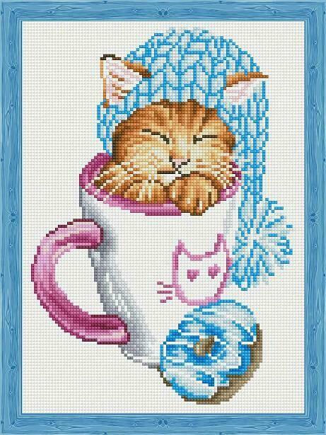 Набор алмазной вышивки (30х40см) Цветной QS201013 Спящий котёнок с пончиком