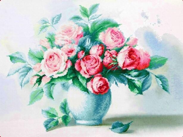 Набор алмазной вышивки (30х40см) Цветной LZE012 Восхитительный букет (без подрамника)
