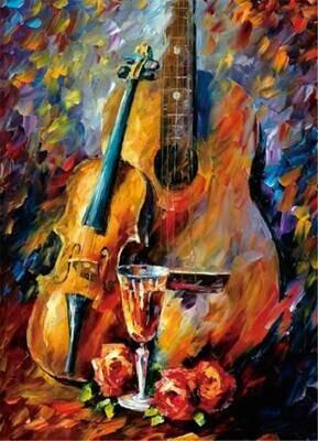 Набор алмазной вышивки (30х40см) Цветной LZE052 Скрипка и гитара (без подрамника)