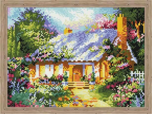 Набор алмазной вышивки (30х40см) Цветной QS200623 Сказочный дом среди цветов
